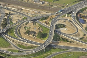 Large highway interchange under construction in South Africa